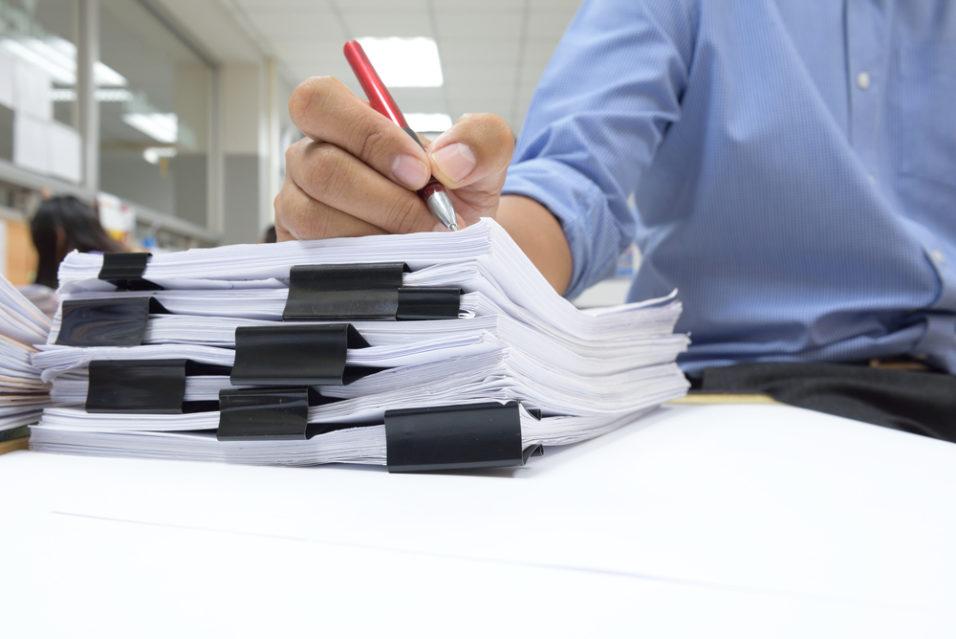 Bunke med dokumenter